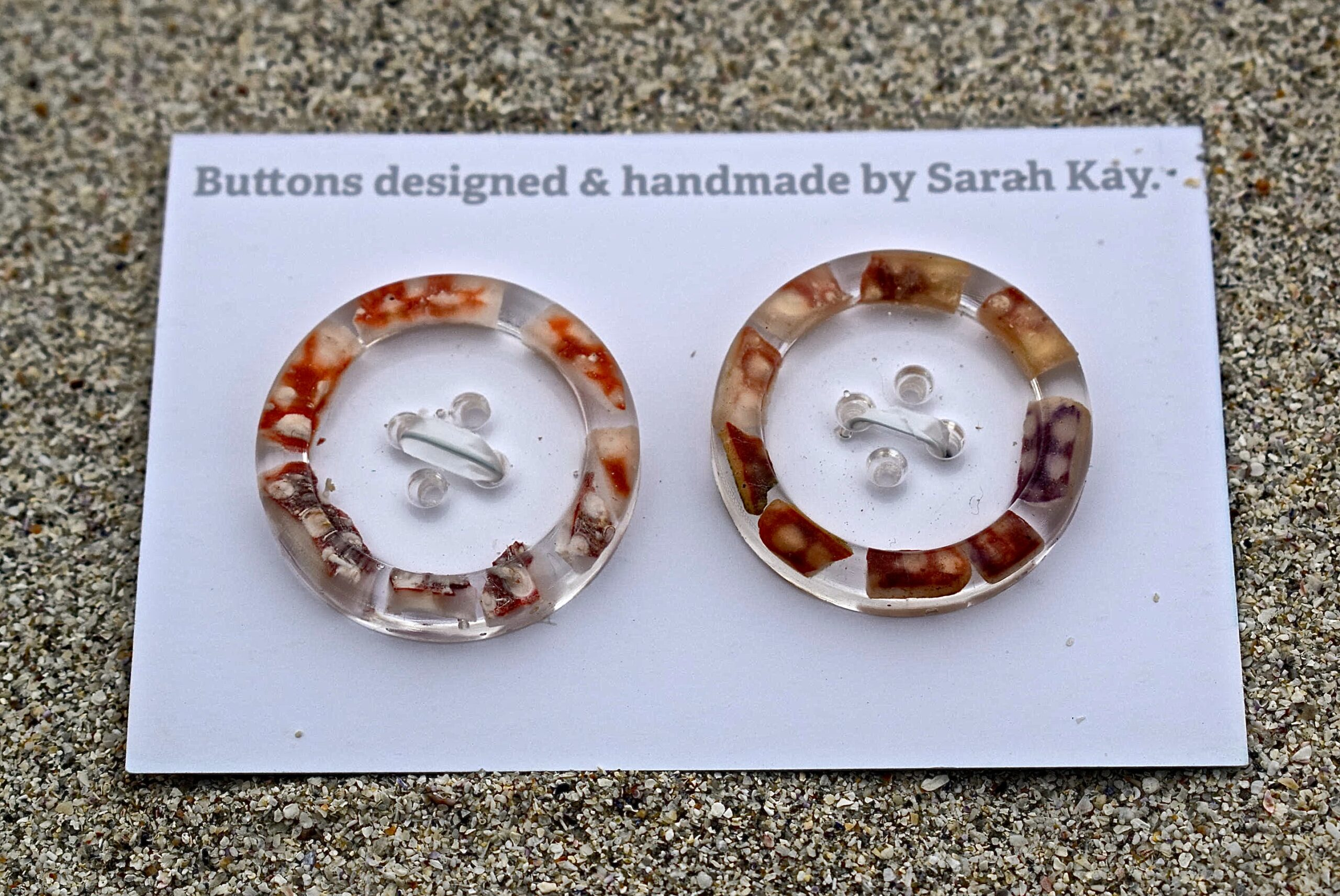 Wool Week Buttons, handmade unique range of buttons designed and made by Sarah Kay. Shetland artist.